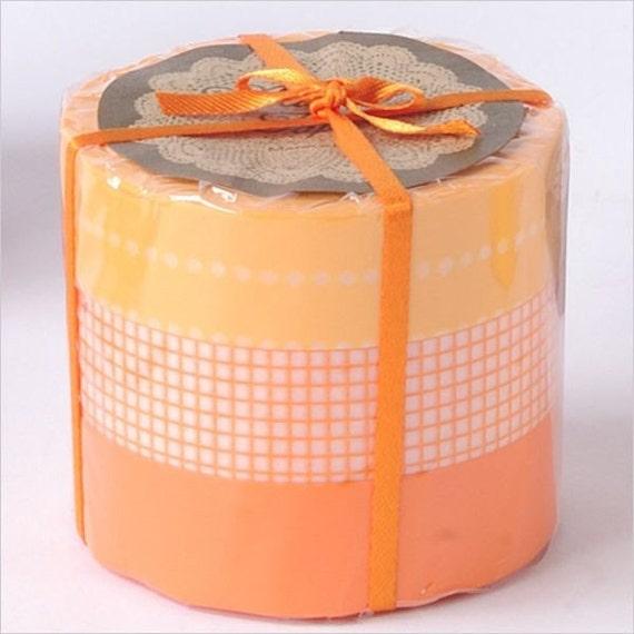 Washi Tape- Masking Tape-Washi Tape-Decorative Tape-Orange Grid-3 roll set