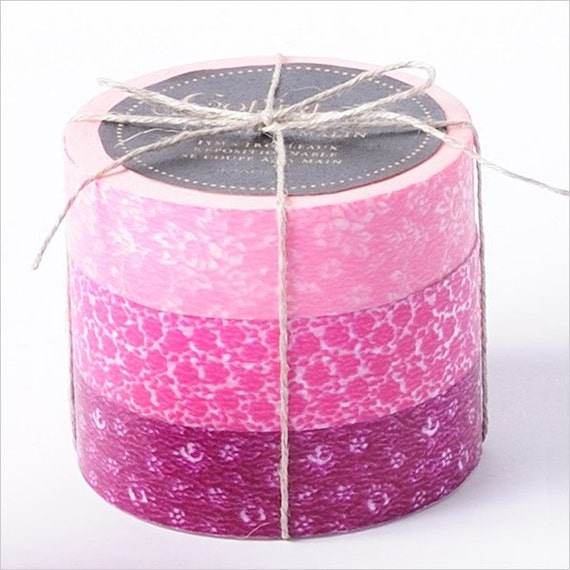 Japanese Masking Tape-Washi Tape-Coffret du Couturier-3 roll set- PINK