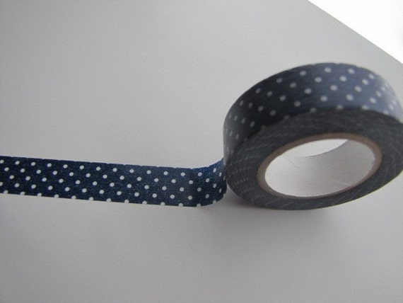 Washi Tape-Masking Tape-Deco Tape-Single roll-Dark Blue Polka Dots