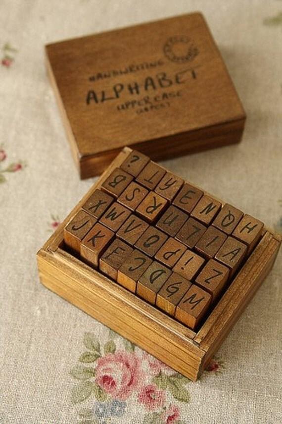 Rubber Alphabet Stamp Set it Cute Wooden Box-Antique Style-Alphabet Stamp Set-Letter Rubber Stamp