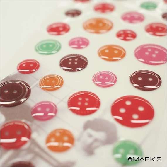 Button Stickers-Epoxy-Scrapbooking Stickers-Embellishment-Vintage Style Buttons
