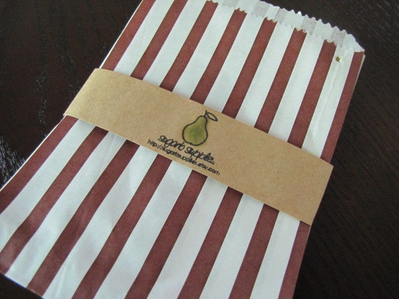 Traditional Sweet Shop Bags-Brown and White Striped Merchandise Bags-Available in 9 Colors