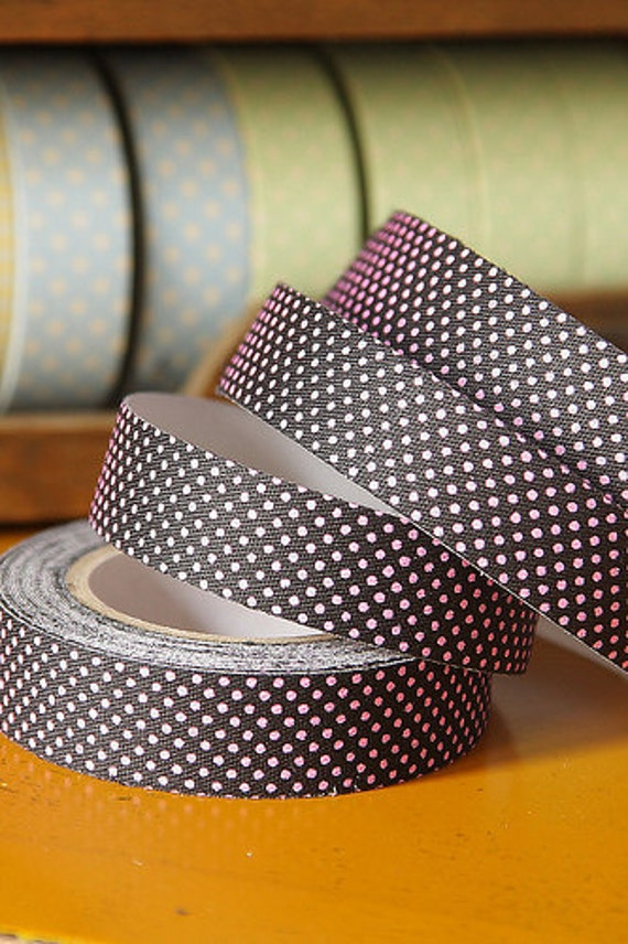 Tape-Fabric Tape-Masking Tape-Fabric Washi Style Tape-Black with Pink Polka Dots-Single Roll