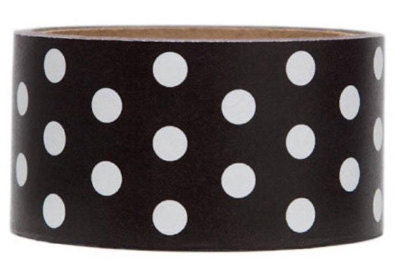 Packing Tape-Mailing Tape-Deco Tape-Black and White Polka Dots