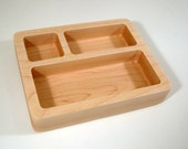 Solid Maple Fine Wood Desk Organizer - Pencil Pen Tray Holder Bowl Office Paperweight