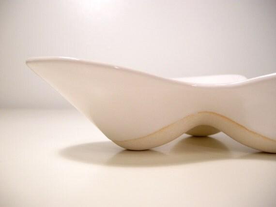 "Porcelain ""Futura"" TRAY / DISH / BOWL Serving or Display - Ceramic Digital Craft Modern Mid-Century Design White"