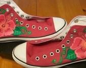 Custom painted CONVERSE hi top shoes