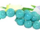 22mm Huge Round Stabilize Turquoise Loose Strand 16 inch