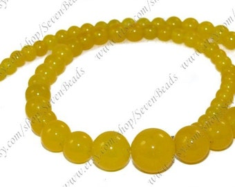 Charm yellow  jade round stone beads loose strand