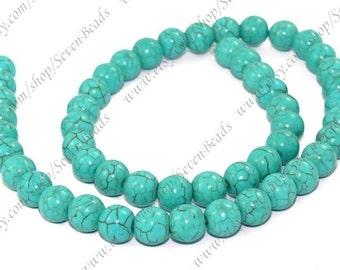 Turquoise round stone beads 12mm full strand