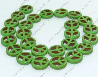 15mm Charm green Peace mark Turquoise loose  strand,turquoise stone beads