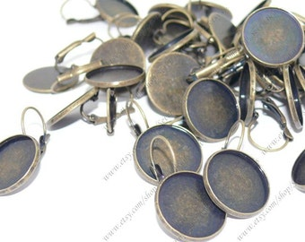 6pcs Antique Solid Brass French Earwires Hook With Round 18mm Pad