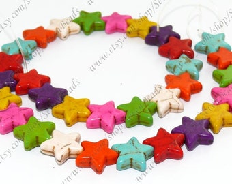 Multicolor turquoise pentagram stone beads loose strand 15mm