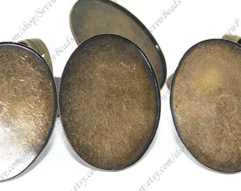 Antique Brass oval Pad Open Adjustable RING Base 5 pcs