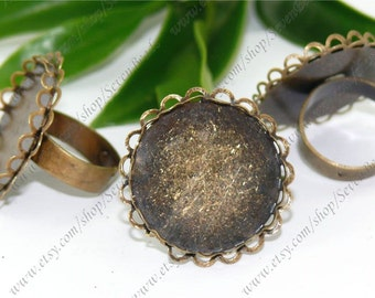 50pcs Adjustable Antique Bronze Filigree Lacy Design Pad Base Rings -- Newest Arrival pad size 25mm