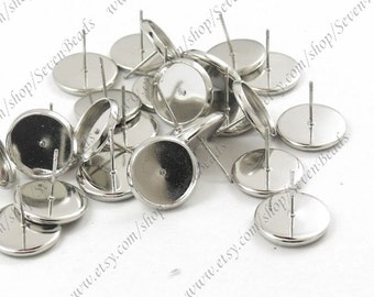 20pcs White Gold plated Brass Earring Posts With Round 12mm pad