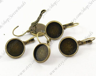 10pcs Antique Bronze Lever Back French Earring Hook with round 12mm pad
