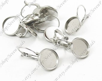 100pcs Platinum Tone Lever Back French Earring Hook round 12mm pad