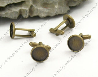 10pcs Antique Brass Pad Round sleeve button Base 12mm Pad,button findings,button base findings