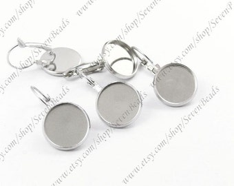 10pcs Platinum Tone French Earwires Hook With Round 12mm pad
