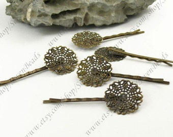 20 pcs 64mm Antique Bronze bobby pins flower Hair Clips with 25mm flower pad