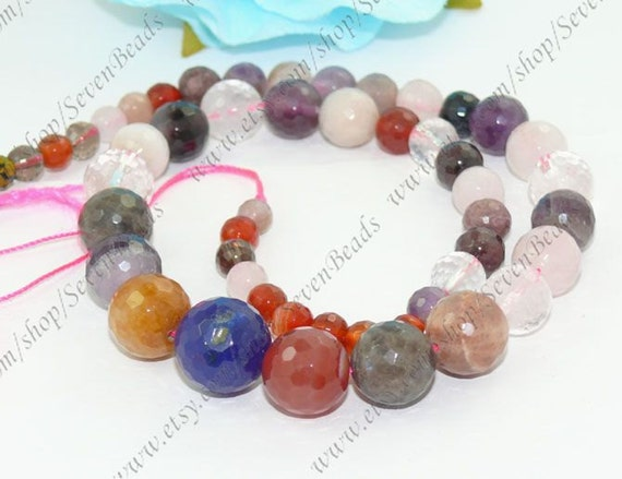 6-14mm faceted crystal stone beads ---agate round beads 17inch