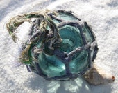 Japanese Glass Fishing Float - Original Purple Net, Baseball Size