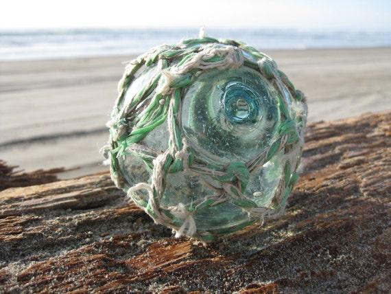 Japanese Glass Fishing Float - Original Multi-Colored Net, Baseball Size, Kanji Marks