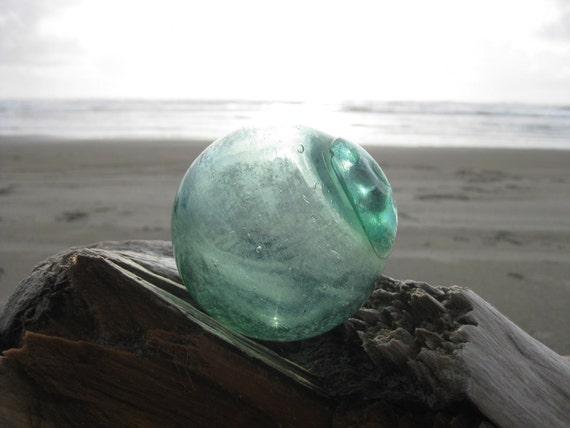 Japanese Glass Fishing Float - Baseball Size, Light Green