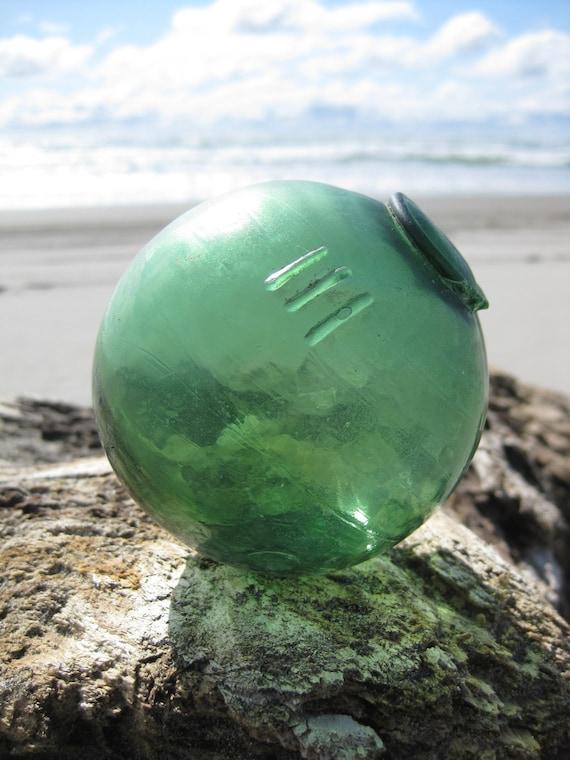 Authentic 3-Piece Mold Glass Fishing Float - Green, Alaska Beachcombed