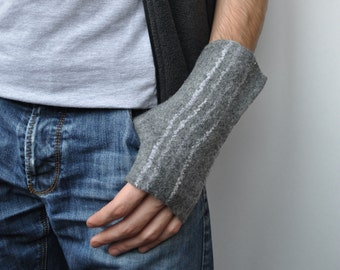 Wool felted arm warmers fingerless gloves for man