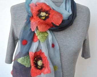 Nuno Felted Scarf Poppies Are Also Flowers made to order