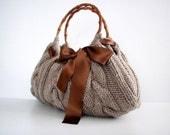 NzLbags Handmade - Handbag - Shoulder Bag - Everyday Bag-Beige Knitted Nr - 032