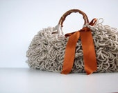 NzLbags Handmade - Everyday Bag - Knitted Handbag Shaggy Beige Nr - 0104