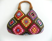 NzLbags New - Multicolor Summer Bag Afghan Crochet Bag, Bamboo Yarns Handbag - Shoulder Bag Nr-0177