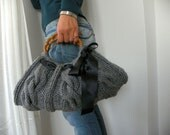 Knit women Handbag, Gray, fall autumn fashion, winter, black ribbon bow, tote, knitted purse, christmas gift idea