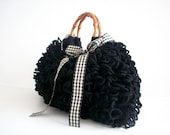 Crochet Tote bag, Crochet bag NzLbags Handmade,  pouch, Crocheted Handbag Shaggy Black, fall autumn fashion, christmas gift idea