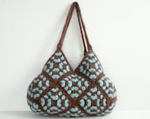 SALE OFF 15% NzLbags- New Handbag - Felted Wool Crochet Handbag -  Brown & Turquoise  - Nr-0182