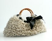 Crochet bag NzLbags Handmade - Everyday Bag - Crochet Handbag Shaggy Beige, natural earth colors, women' handbag, accessories, knit bag