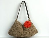 Knitted bag NzLbags New Neutral Small - Beige-Light Brown Knit Bag, Handbag - Shoulder Bag, Leather Strap Nr-0180