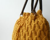 Knit Bag Fall Fashion Shoulder and Handbag, NzLbags, Mustard Knit Bag, Leather Strap Nr-0214
