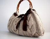 NzLbags Handmade - Handbag - Shoulder Bag - Everyday Bag-Beige Knitted Nr - 039