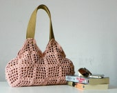 Crochet tote, purse crochet bag - Shoulder Bag, fall autumn, powder pink, women accessories, christmas gift idea, crochet women handbag