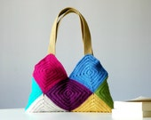 Crochet bag , Granny Square, Fall autumn fashion, Patchy crochet purse, Women Bag - Shoulder Bag, patchwork