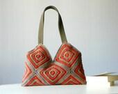 Crochet women bag, Stripet crochet Bag, granny square, Fall autumn fashion, Shoulder Bag, christmas gift idea