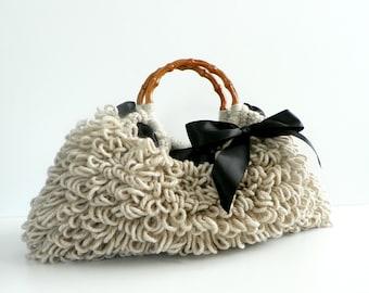 Crochet bag NzLbags Handmade - Everyday Bag - Crochet Handbag Shaggy Beige, natural earth colors, women' handbag, accessories, knit bag
