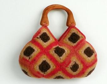 Crochet handbag, Felted Wool Crochet Granny Square Handbag, coral, brown, beige, fall autumn winter fashion, christmas gift idea