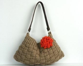 Knitted bag NzLbags New Neutral Small - Beige-Light Brown Knit Bag, Handbag - Shoulder Bag, Leather Strap Nr-0180