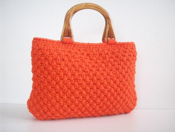 NzLbags  HANDBAG - Handmade Knitted Bag ORANGE - Nr-056