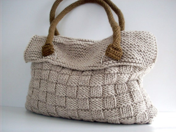 NzLbags Everyday Knitted Bag, Shoulder Bag, Handbag - Beige Nr - 075